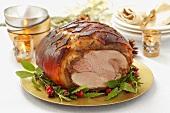 Roast ham for Christmas dinner