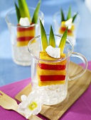 Exotic fruit dessert with coconut