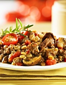 Beef and mushroom fry up with tender wheat