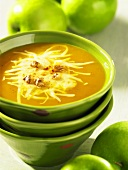 Pumpkin and apple soup with Swiss cheese