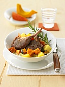 Lamb chops with pumpkin ragout and rosemary