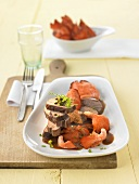 Duck breast with pink oyster mushrooms