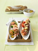 Mushroom kebabs with pepper and tomato salsa