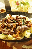 Venison kidneys with chanterelle mushrooms and tagliatelle