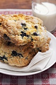 Blueberry biscuits and a glass of milk