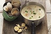 A pot of clam chowder