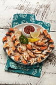Crab claws with a tomato dip