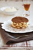 Tiramisu (layered dessert made with mascarpone cream and cocoa)
