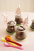 Mini chocolate cakes in glasses for Christmas