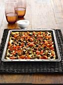 Mushroom and tomato tart