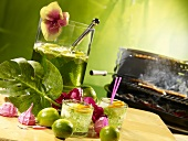 Caipirinha punch with melon