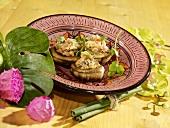 Caribbean-style stuffed mushrooms