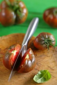 Heirloom tomatoes, whole and halved