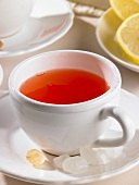 A cup of rosehip tea with candied sugar and lemon