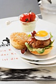 A veal burger with a quail's egg