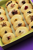 Shortbread biscuits with edible flowers
