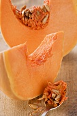 Pumpkin slices with and without seeds