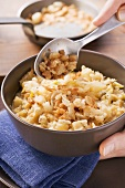 Sauerkraut with barley and croutons