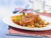 Pork fillet kebabs with potato rösti