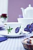 Cups with a plum design (napkin decoupage)