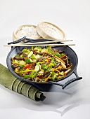Stir-fried vegetables with beef and rice