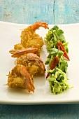 Coconut prawns with avocado salad