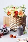 A basket as a flower vase
