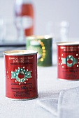 Tomato tins with a punched hole pattern