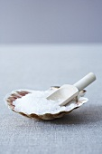 Sea salt in a scallop shell with a wooden scoop