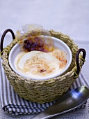 Crema catalana in a small basket