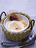 Crema catalana in a small basket