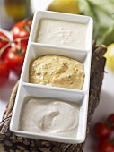 Three different dipping sauces