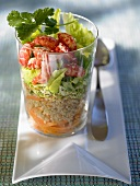 Layered grain salad with freshwater crayfish