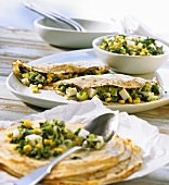 Crêpes with spinach and goat's cheese filling