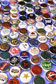 Bottle caps from different beers (full-frame)