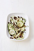 Celery and courgette salad with tapenade