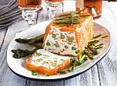 Smoked salmon terrine with green asparagus