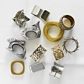 An assortment of metal napkin rings