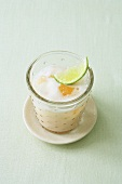 Buttermilk drink with citrus fruit and banana