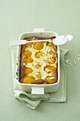 Apricot clafoutis with almonds and pearl sugar