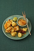Vegetable fritters with lentil dip