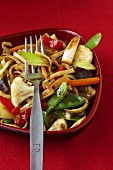 Stir-fried vegetables with egg noodles
