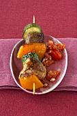 Beef and vegetable kebab with tomato salsa
