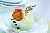 Fried scallop with keta caviar and balsamic vinegar