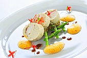 Lobster and mushroom mousse stuffed with poached monkfish