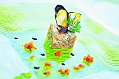 Salmon tartare & king crab tartare with aubergine crisps
