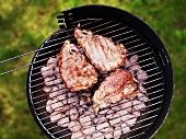 Pork chops on charcoal barbecue