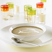 Artichoke soup with crème fraîche