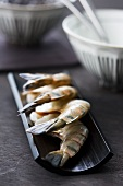 Tiger prawns on Japanese tableware
