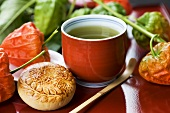 Green tea with Japanese bean paste pie